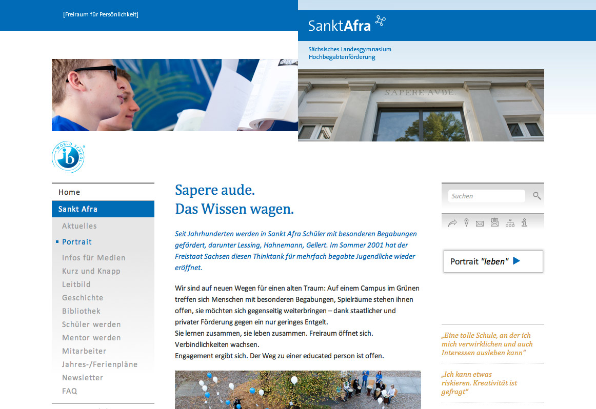 Sankt Afra, Website