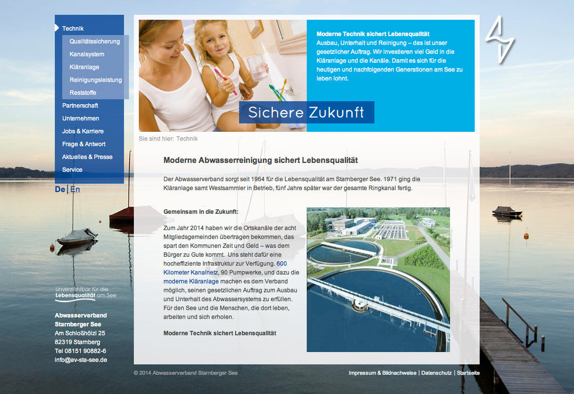 AV-Starnberger See, Unterseite Website