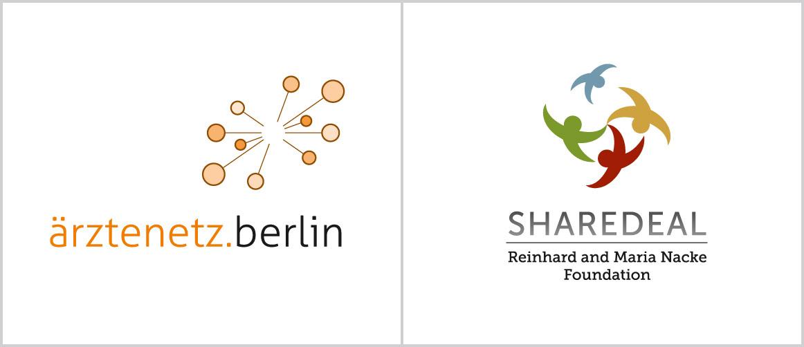 Logos Ärztenetz Berlin und Stiftung Sharedeal