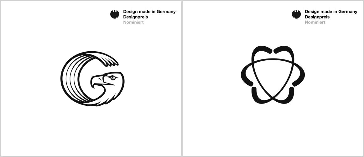 Nominierte Logos für Designpreis