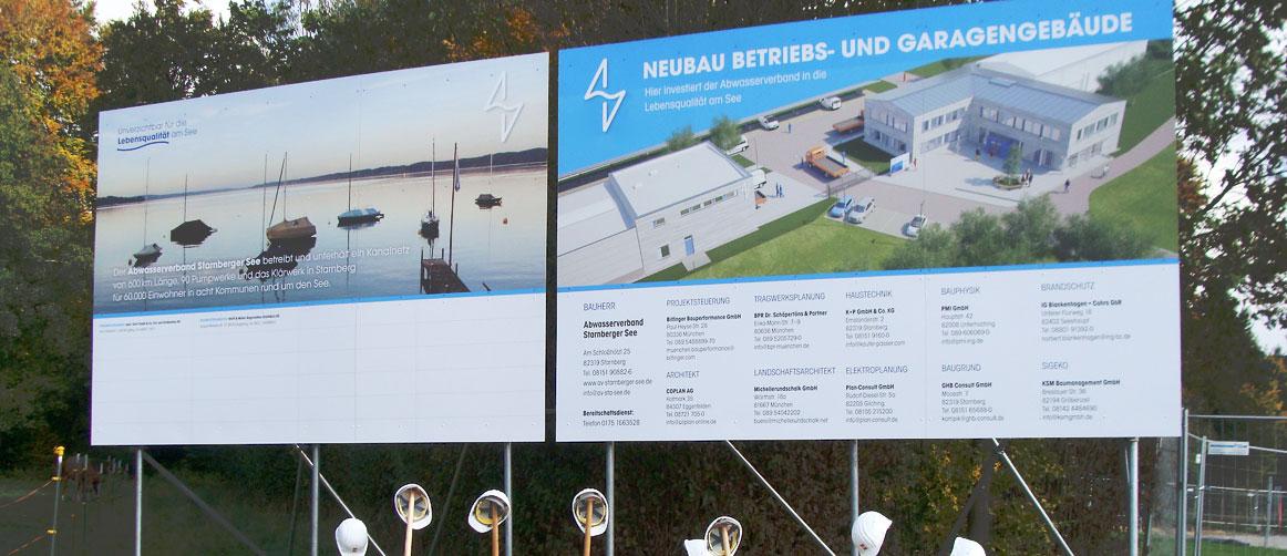 Bautafeln für den Abwasserverband Starnberger See