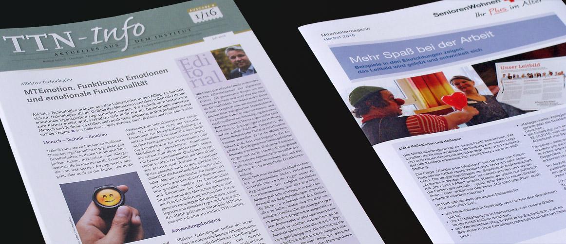 Newsletter TTN-Institut und Mitarbeitermagazin SSG BRK