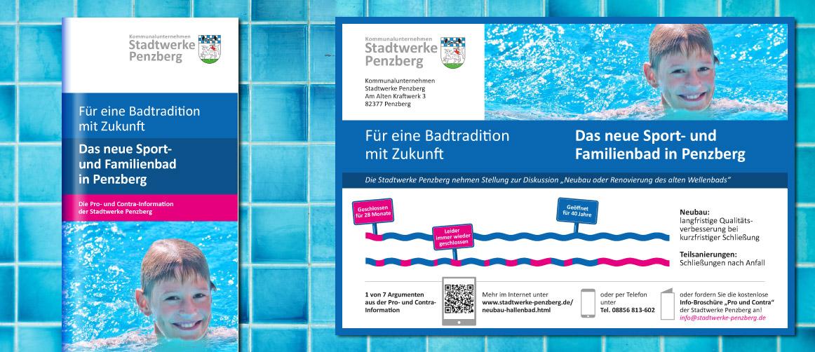 Pro- und Contra-Argumentation, Anzeige und Flyer zum Schwimmbad Neubau in Penzberg