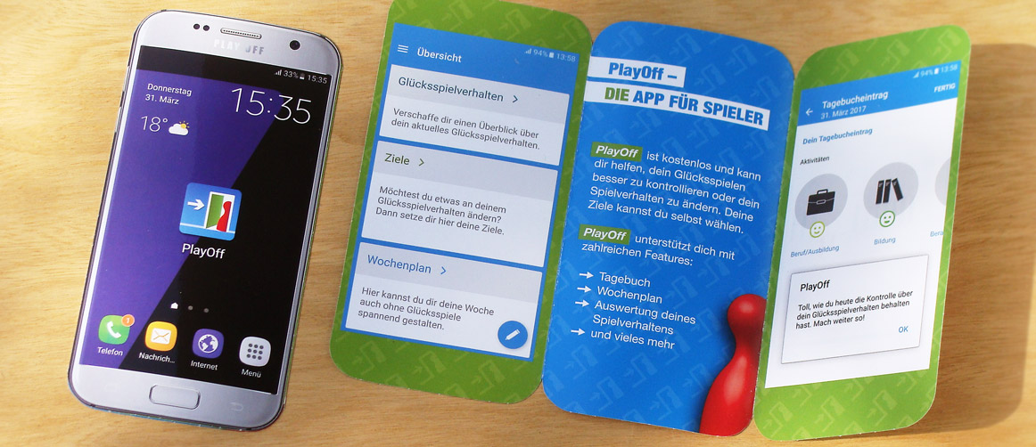 PlayOff: App-Icon und Folder für Landestelle Glücksspielsucht Bayern